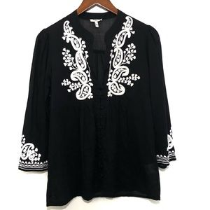 JOIE 100% Cotton Embroidered Oversized top